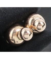 รหัสสินค้า: 50640 ต่างหู เม็ดกลม แป้นหลังกลม Pink gold ทอง9K งานดีไซน์สวย นน. 8.42 g