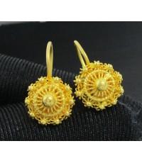 รหัสสินค้า: 50638 ต่างหู กระดุม ดอกบัว สัตตบงกช ทอง96.5 ตะขอเบ็ด ทองเก่า งานโบราณ นน. 3.40 g