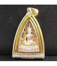 พระพุทธชินราช เนื้อเงิน 3 กษัตริย์ กรอบทอง ฝังเพชร 11 เม็ด 0.15 กะรัต นน. 14.46 g