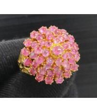 แหวน ทับทิม หลังเบี้ย เนื้อแก้ว ทรงพุ่ม ทอง90 งานสวยมาก นน. 5.80 g