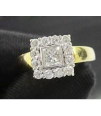 แหวน เพชร Princess 1 เม็ด 0.30 กะรัต ล้อมเพชร 12 เม็ด 0.24 กะรัต ทอง90 งานสวยมาก นน. 3.92 g