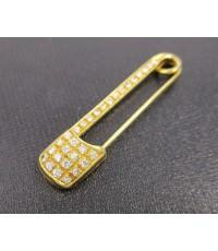เข็มกลัด ทองคำ ฝังเพชร 30 เม็ด 0.60 กะรัต ทอง90 งานสวยมาก นน. 4.55 g