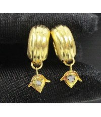 ต่างหู ห่วงทอง ฝังเพชรซีก ตุ้งติ้ง ทอง90 งานเก่า หลุดจำนำ สวยมาก นน. 3.04 g
