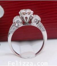 แหวนเพชรแท้เบลเยี่ยมคัท (พร้อมใบเซอร์ GIA) RI00173-49 (ENZZ)
