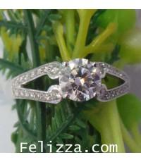 แหวนเพชรแท้เบลเยี่ยมคัท (พร้อมใบเซอร์ GIA) RI00133-38 (ENFSO)