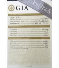 เพชรร่วงใบเซอร์ GIA 0.32 ct. F/VVS1 , 3Ex (D0004)