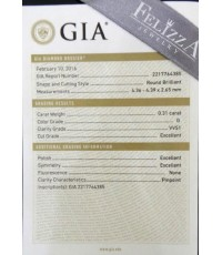 เพชรร่วงใบเซอร์ GIA 0.31 ct. G/VVS1,3EX  (D0009)