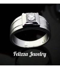 แหวนชาย ประดับเพชรแท้เบลเยี่ยมคัท RI00490-228 (EKHS)