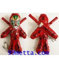 หุ่นพยนต์ยอดนักรบหน้ากากเทวดา ดาบคู่ สีแดง ลพ.ปุ่น ธรรมะปาโล วัดป่าบ้านสังข์ ร้อยเอ็ด 2561