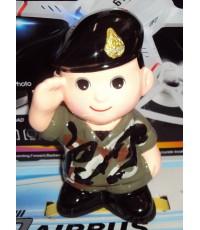 ตุ๊กตากระปุกออมสิน ทหารบกชุดฝึกลายพราง เซรามิค