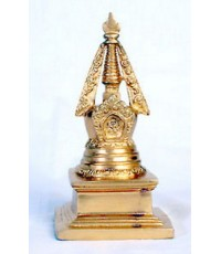 Gilt on white metal stupa tibet buddha Tibetan Buddhism