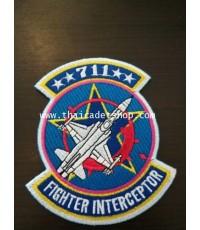 อาร์มผ้ากองทัพอากาศ ฝูงบิน 711 กองบิน 7 สุราษฎ์ธานี FIGHTER INTERCEPTOR