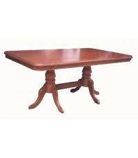 โต๊ะอาหาร ขาเช็คโกคู่ 6\quot; หน้าปุ่มมะค่า ติดอินเลย์ 90*180ซม.