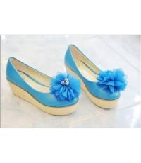 รองเท้าสไตลเกาหลีน่ารัดดอกไม้สีฟ้า
