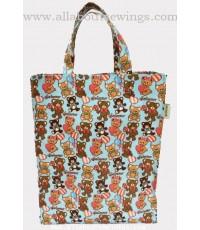 กระเป๋าถือ ผ้าแคนวาสเคลือบพลาสติก ลายตุ๊กตาหมี