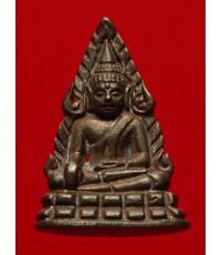พระชัยวัฒน์พระพุทธชินราช เนื้อนวโลหะกลับดำ พิธีมหาจักรพรรดิ์ ปี45 วัดพระศรีฯ พิษณุโลก กล่องเดิม