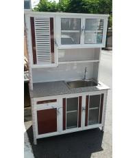 ตู้ซิ้งค์ล้างจาน 2 ตอน ปูด้วยหินแกรนิต ขนาด 1.20-1.50 เมตร