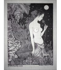ศิลปะไทยภาพพิมพ์ นางกินรีในป่าหิมพานต์ (PP039)