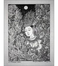 ศิลปะไทยภาพพิมพ์ นางกินรีในป่าหิมพานต์ (PP040)
