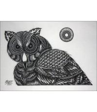ศิลปะไทยภาพพิมพ์ นกฮูก (PP062)