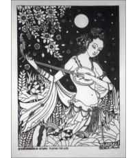 ศิลปะไทยภาพพิมพ์ นางอัปสรเล่นพิณ(PP131)