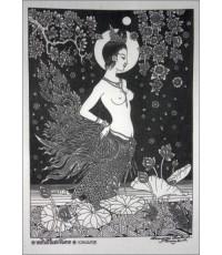 ศิลปะไทยภาพพิมพ์ นางกินรีในสระอโนดาต (PP132)