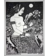 ศิลปะไทยภาพพิมพ์ นางอัปสรเก็บดอกบัวในสระอโนดาต (PP133)