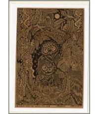 ศิลปะไทยภาพพิมพ์การ์ด นกฮูก (C004)