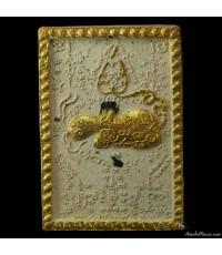 พระผงเพชรพญาธร ปัดทอง ฝังพลอยเสก พิมพ์เล็ก หลวงปู่หมุน เนื้อผงพุทธคุณ ผงชมพูนุช ออกวัดซับลำใย ปี ๔๓