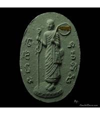 พระสิวลีหลังพระแม่ธรณีบีบมวยผม หลวงปู่หมุน พิมพ์เล็ก เนื้อเขียว ฝังตะกรุด ออกวัดซับลำใย ปี ๔๓