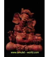 พระพิฆเณศ (ศิลปะมาเลย์) ปางเสวยสุข หน้าตัก 6.5 นิ้ว เนื้อบรอนซ์นอกพาตินา สีม่วงแดง