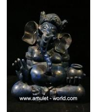 พระพิฆเณศ (ศิลปะมาเลย์) ปางเสวยสุข หน้าตัก 6.5 นิ้ว เนื้อบรอนซ์นอกพาตินา สีน้ำเงิน