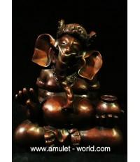 พระพิฆเณศ (ศิลปะมาเลย์) ปางเสวยสุข หน้าตัก 6.5 นิ้ว เนื้อบรอนซ์นอกพาตินา สีน้ำตาล