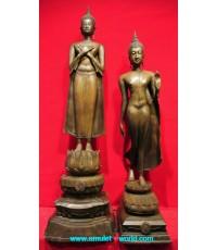 พระพุทธลีลาประทับบนรอยพระพุทธบาทและพระพุทธรูปปางรำพึง(คู่) เนื้อสำริดผสมระฆังโบราณ