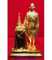 พระบาทสมเด็จพระจอมเกล้าเจ้าอยู่หัว เนื้อโลหะผสม สูง 12 นิ้ว ปิดทองคำเปลวแท้