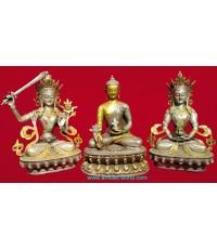 พระพุทธธิเบตและพระโพธิสัตว์ 2 พระองค์ ธิเบตแท้ เนื้อสัตตะโลหะ รมกระไหล่เงิน และกระไหล่ทอง