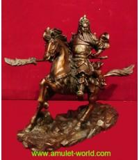 เทพเจ้ากวนอู ขี่ม้าศึก รุ่นชนะศึก ทำพิธีและนำเข้าจากจีน เนื้อสัตตะโลหะ รมน้ำตาลแดง
