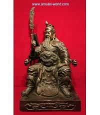 เทพเจ้ากวนอู นั่งอ่านหนังสือ ทำพิธีและนำเข้าจากจีน เนื้อสัตตะโลหะ รมน้ำตาลแดง หน้าตัก 13 นิ้ว สวย