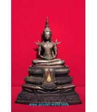 พระพุทธรูปทรงเครื่องจักรพรรดิ์ สมาคมสภาผู้สูงอายุแห่งประเทศไทยฯสร้าง โลหะผสม ตัก 9 นิ้ว (องค์ที่3)