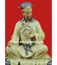เทพเจ้าขงเบ้งนั่งอ่านหนังสือ เสื้อเหลืองแตกลายงา เนื้อเจียะอวงแท้ หน้าตัก 7 นิ้ว นำเข้าจากจีน
