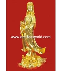 พระแม่กวนอิม ยืนประทับบนปลามังกร วัดโพธฺิ์แมน ปี2539 เนื้อโลหะผสม ปิดทอง องค์ที่2
