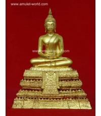 พระประธานยิ้มรับฟ้า วัดระฆัง รุ่น อนุสรณ์ฯ 118 ปี พ.ศ.2533 หน้าตัก 5 นิ้ว ปิดทองทั้งองค์