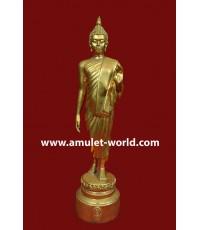 พระพุทธลีลาพุทธมณฑล ภปร. ปี2525 เนื้อปิดทอง สูง 9 นิ้ว