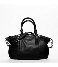 กระเป๋าสะพายหนัง COACH MADISON SOPHIA LEATHER BLACK SATCHEL 18609