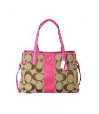 กระเป๋าสะพาย COACH SIGNATURE STRIPE KHAKI PINK CARRYALL BAG 21949