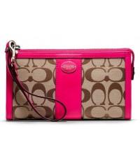กระเป๋าคล้องมือ COACH LEGACY SIGNATURE ZIPPY WALLET WRISTLET  KHAKI MAGENTA  48625B
