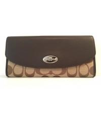 กระเป๋าสตางค์ NWT COACH SIGNATURE FABRIC LEATHER SLIM ENVELOPE WOMEN\'S WALLET KHAKI MAHOGANY F53617