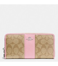 กระเป๋าสตางค์ COACH SIGNATURE PVC ACCORDION LEATHER ZIP AROUND WALLET LIGHT KHAKI PETAL  F52859