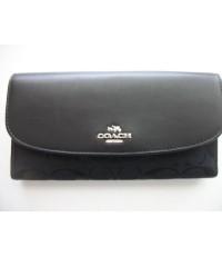 กระเป๋าสตางค์ COACH NWT LEATHER AND SIGNATURE FABRIC CHECKBOOK WALLET BLACK F53615