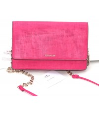 กระเป๋าสะพาย COACH  MADISON EMBOSSED LEATHER CROSSBODY CLUTCH  SHOULDER BAG PINK RUBY  38135E